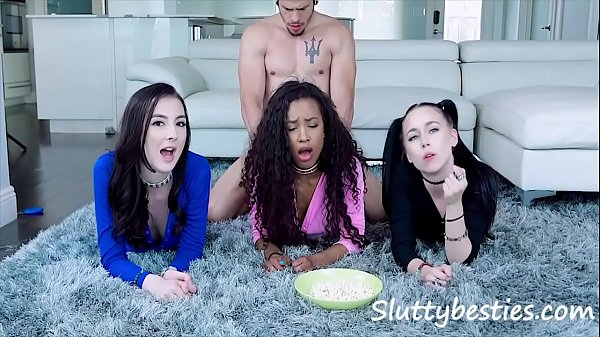 Movie night couldn't get any better, Fucking stepsis & her friends - Demi Sutra, Bambi Black, Megan Winters