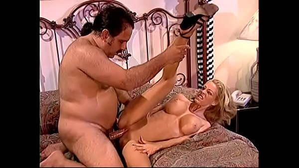 Blonde with fake tits Tabitha Stevens seduces fat dude and drinks her juices