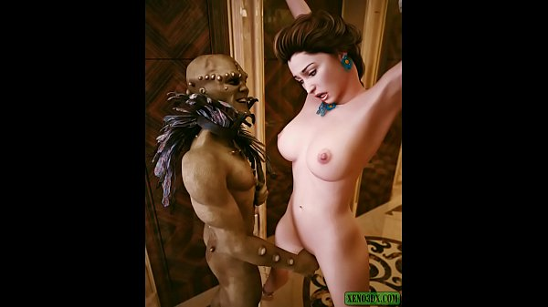 Green Cock Inside of a Maiden. 3D Monster BDSM Thumb