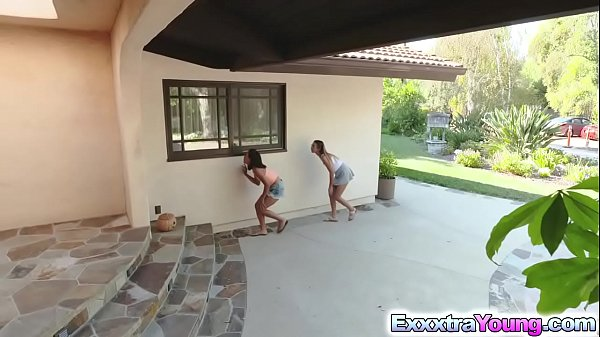 Teens Aria and Raquel destroyed by neighbors cock