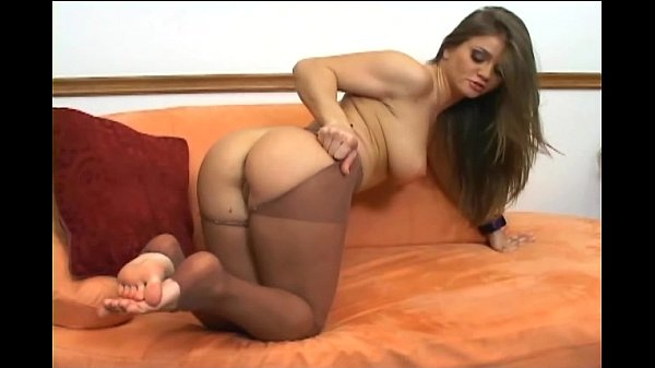 Ripping her pantyhose giving a footjob and anal