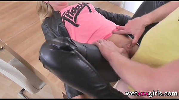 German amateur dressed in leather gets fucked on the table Thumb