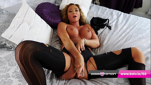 Natalia Forrest rips her tights and fucks herse...
