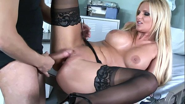 Busty babe sex in black stockings and high heels Thumb