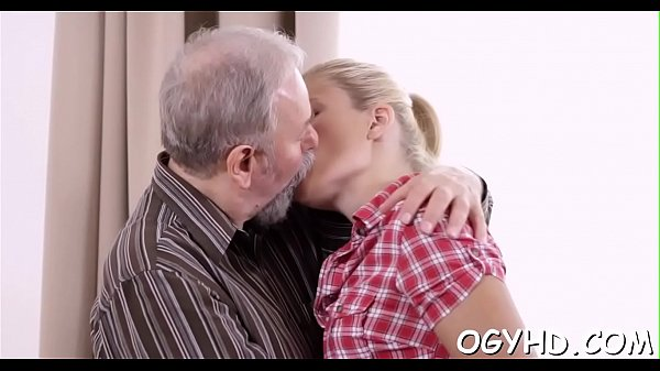 Old lad inserts cock in young hole