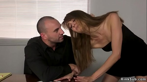 Lawyer butt plugs and fucks brunette