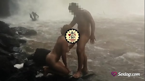 Hot blowjob in the waterfall