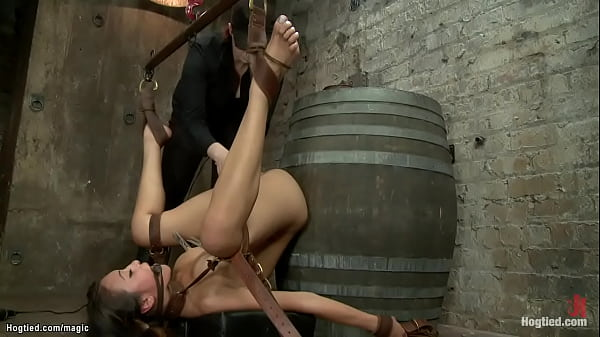 Bound butt plugged Asian on a barrel Thumb