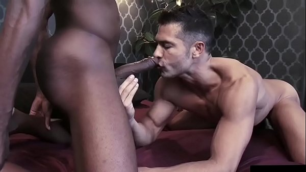 Black with huge cock and Latino man fucking each other
