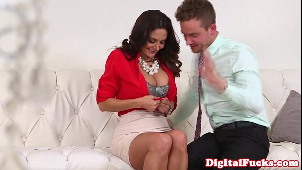 Busty MILF doggystyled and jizzed on tits