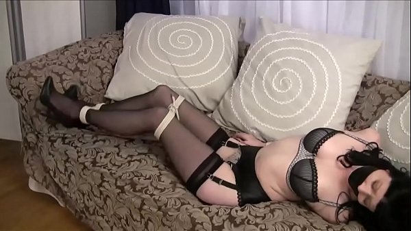 Stunning Brunette Mary Jane Green in Lingerie Bondage