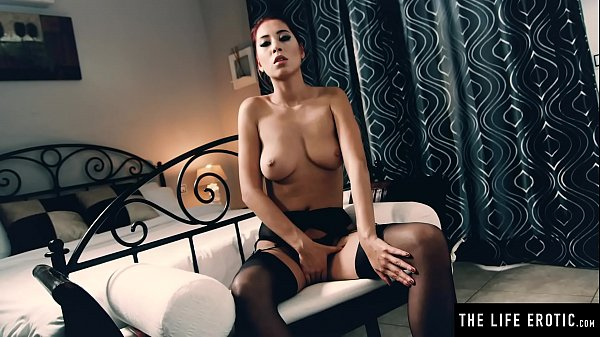 Asian beauty's big tits bounce wildly as she rides her dildo hard