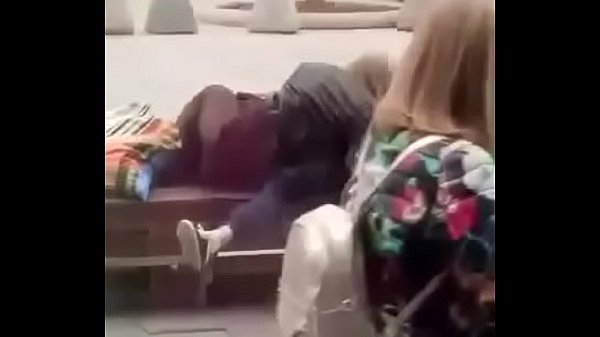 Stupid blonde gives blowjob in public