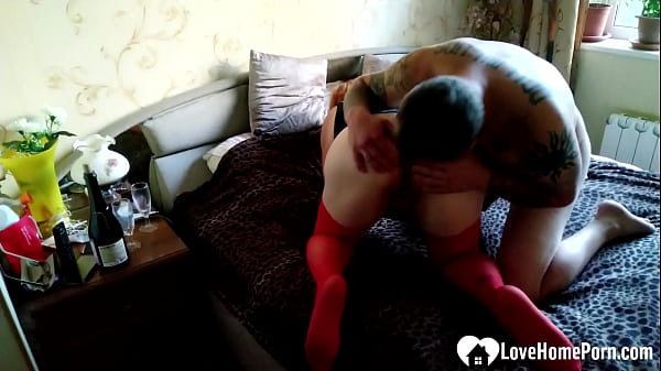 Teacher in red stockings pounded by her student