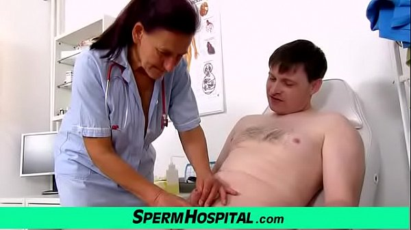 Granny Linda stroking cock at dirty sperm clinic