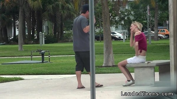 Blonde teen banging with stranger in public