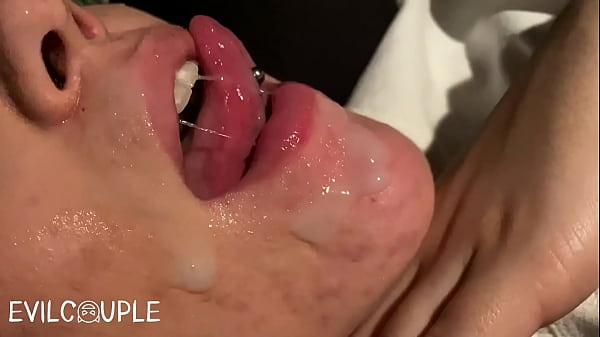 CUM on my Face while Driving and Licking it with my Huge Tongue (after Blowjob) Thumb
