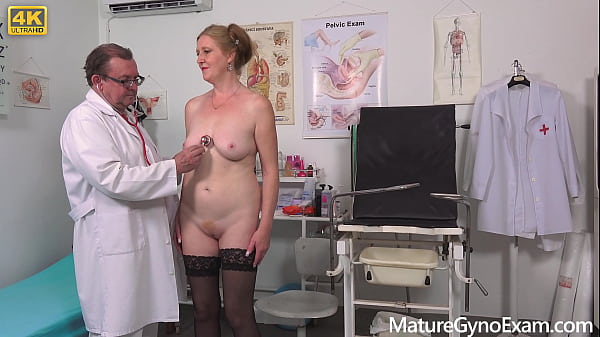 Hot ginger granny Angelina examined and made to cum by freaky doctor
