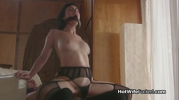 Busty hotwife riding cock in black lingerie