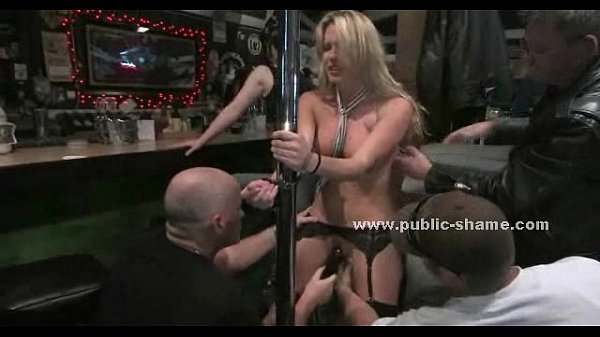 Blonde whore shows up in a bar