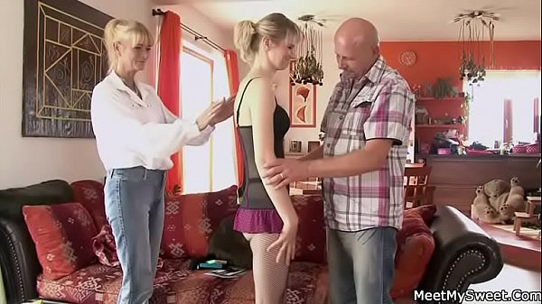 Mom helps her to ride on his old cock