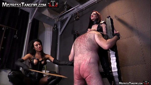 Two Femdom Mistresses cane male slave to his knees Thumb