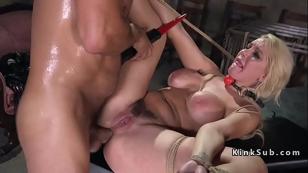 Blonde slave anal fucked and squirts