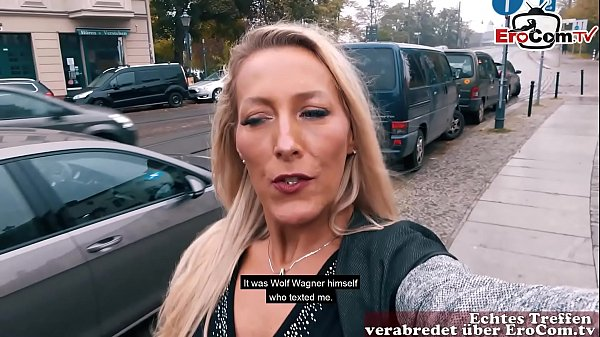 German Girl picks up girl for first time lesbian sex at EroCom Date in Public