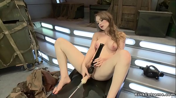 Natural busty and pale gal fucks machine