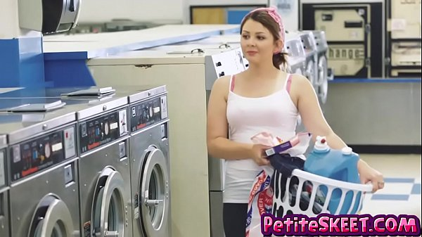 Laundromat fucking with tiny teen Cali Hayes