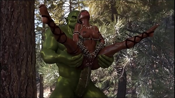 3D Savannah Queen suffering to fuck with big ogre, which has a big cock head