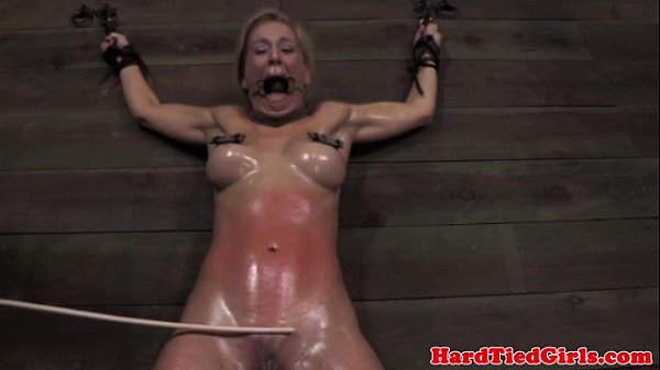 Mouth gagged skank in caning session