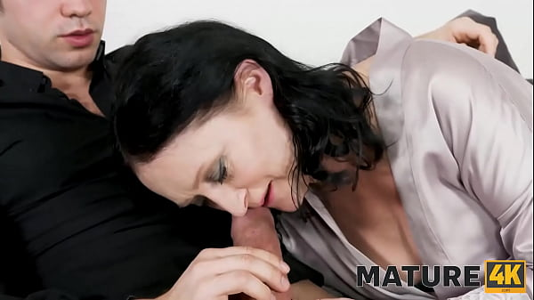 MATURE4K. Mature in blue stockings pleases stepson orally and vaginally