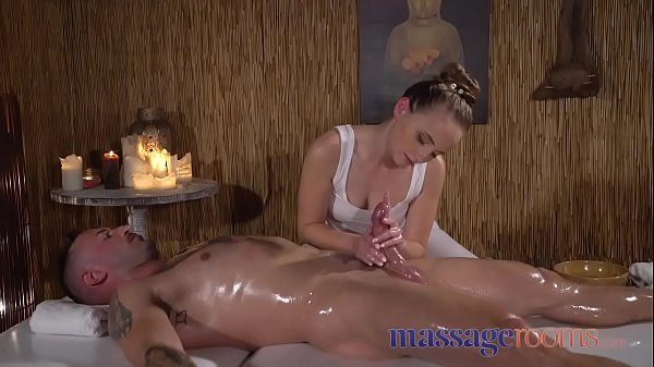 Massage Rooms Petite nymph gives blowjob and ha...