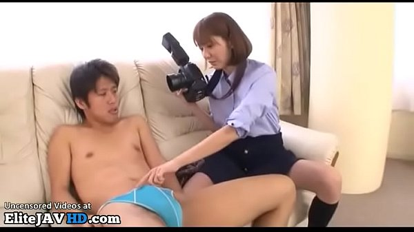 Japanese horny cougar cant resist to young model