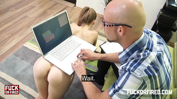 Two horny sluts getting fucked hard in an office  thumbnail