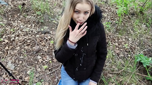 Young student fucked on public outdoor in mouth and pussy and cum on her jacket! Thumb