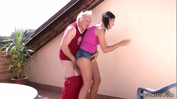 Czech brunette takes old dick from behind