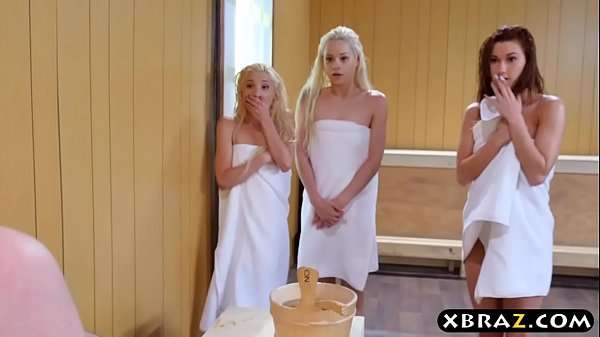 Three teen hotties share a hard monstercock in a sauna