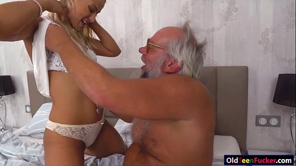 Chary Kiss finger grandpas ass while jerking him off for cum Thumb