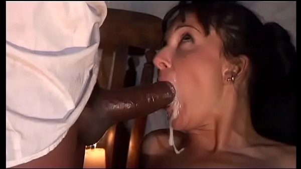 Italian brunette sucks a black cock who cums in her mouth