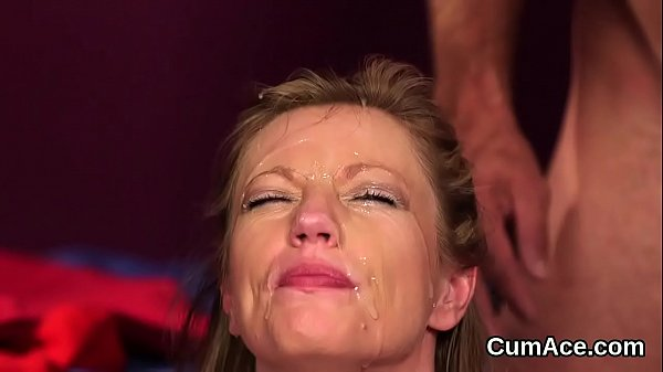 Naughty model gets cum load on her face swallowing all the charge