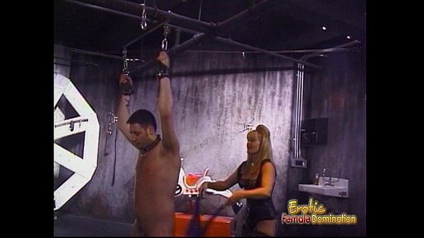 Two ravishing blonde bints whip a horny stallion in the dungeon Thumb