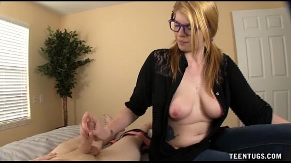 Busty Teen Jerks A Dick On Bed