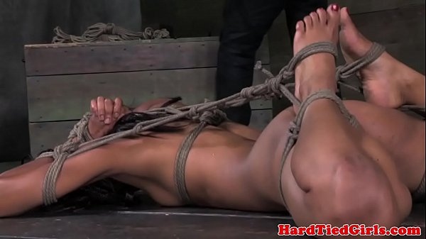 Ebony bdsm sub Nikki Darling hogtied