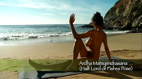 Girls naked Beach with yoga