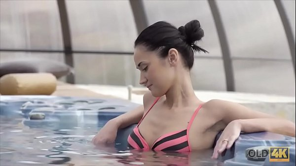 OLD4K. Wet fucking action in the jacuzzi with an old man