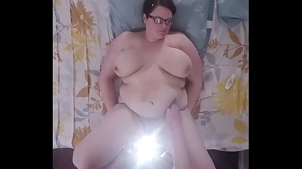 Bbw huge tit wife fucked and cum on belly  overhead view  thumbnail