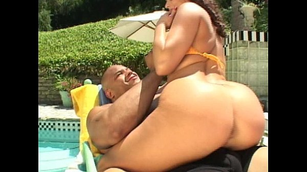 Brunette pussy and ass fucked by pool
