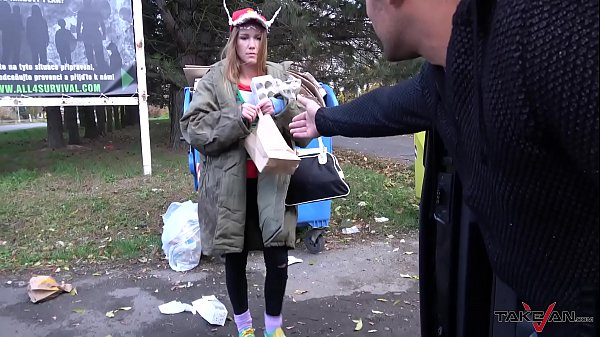 Garbage woman turn to super hot crazy mind blonde hungry for cock